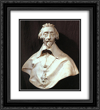 Bust of Cardinal Armand de Richelieu 20x22 Black or Gold Ornate Framed and Double Matted Art Print by Gian Lorenzo Bernini