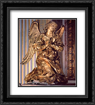 Altar of the Cappella del Sacramento [detail] 20x22 Black or Gold Ornate Framed and Double Matted Art Print by Gian Lorenzo Bernini