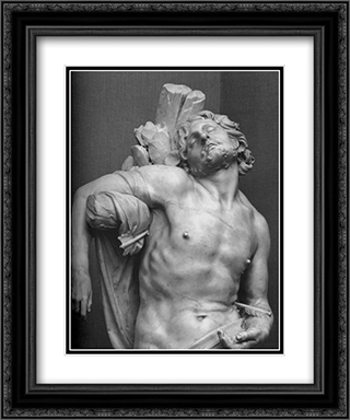 Saint Sebastian [detail] 20x24 Black or Gold Ornate Framed and Double Matted Art Print by Gian Lorenzo Bernini