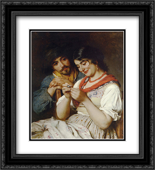 The Seamstress 20x22 Black or Gold Ornate Framed and Double Matted Art Print by Eugene de Blaas