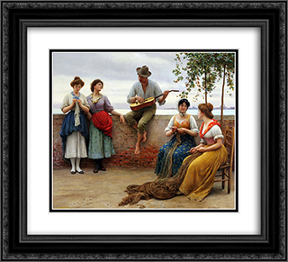 The Serenade 22x20 Black or Gold Ornate Framed and Double Matted Art Print by Eugene de Blaas