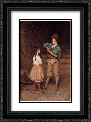 Two Children 18x24 Black or Gold Ornate Framed and Double Matted Art Print by Eugene de Blaas
