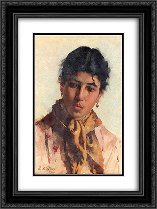 Portrait of a Woman 18x24 Black or Gold Ornate Framed and Double Matted Art Print by Eugene de Blaas