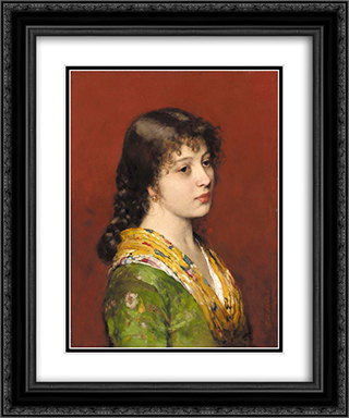 The Yellow Shawl 20x24 Black or Gold Ornate Framed and Double Matted Art Print by Eugene de Blaas