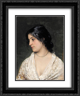 The Pearl Necklace 20x24 Black or Gold Ornate Framed and Double Matted Art Print by Eugene de Blaas