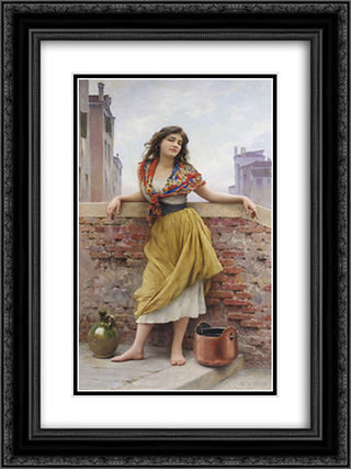 The Watercarrier 18x24 Black or Gold Ornate Framed and Double Matted Art Print by Eugene de Blaas