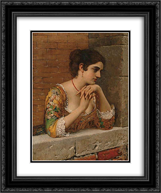 Venetian Beauty on Balcony 20x24 Black or Gold Ornate Framed and Double Matted Art Print by Eugene de Blaas