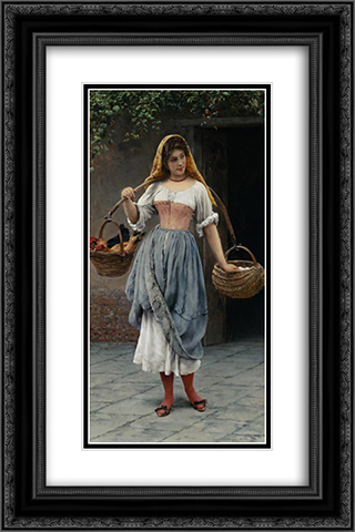 Which Came First? 16x24 Black or Gold Ornate Framed and Double Matted Art Print by Eugene de Blaas