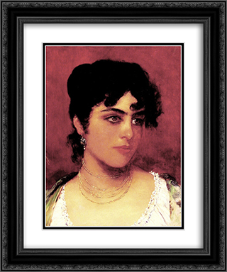 Young Italian Beauty 20x24 Black or Gold Ornate Framed and Double Matted Art Print by Eugene de Blaas