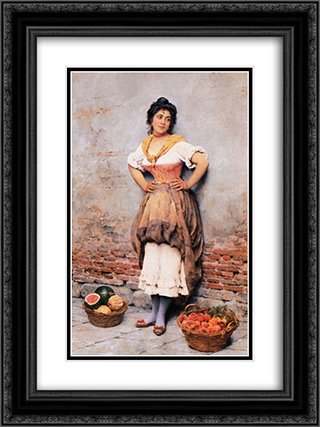 Unknown 18x24 Black or Gold Ornate Framed and Double Matted Art Print by Eugene de Blaas