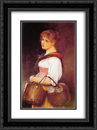 The Milkmaid 18x24 Black or Gold Ornate Framed and Double Matted Art Print by Eugene de Blaas