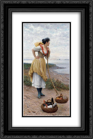 Daydreaming 16x24 Black or Gold Ornate Framed and Double Matted Art Print by Eugene de Blaas