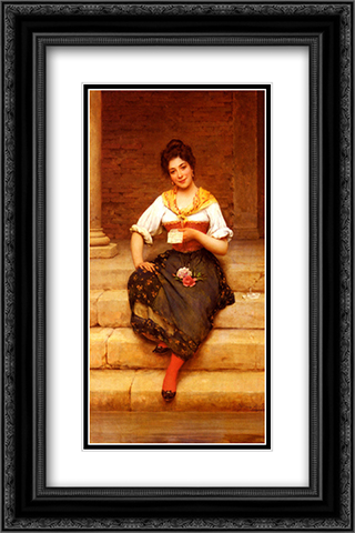The Love Letter 16x24 Black or Gold Ornate Framed and Double Matted Art Print by Eugene de Blaas