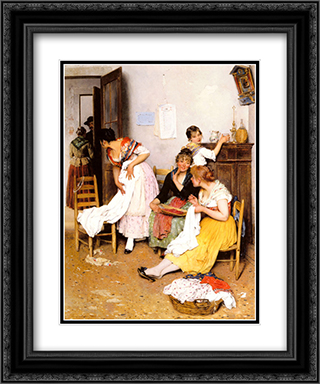 The New Suitor 20x24 Black or Gold Ornate Framed and Double Matted Art Print by Eugene de Blaas