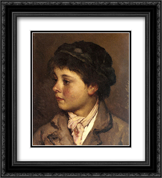 Head of a Young Boy 20x22 Black or Gold Ornate Framed and Double Matted Art Print by Eugene de Blaas