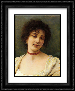 An Elegant Lady 20x24 Black or Gold Ornate Framed and Double Matted Art Print by Eugene de Blaas