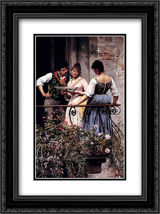 On The Balcony 18x24 Black or Gold Ornate Framed and Double Matted Art Print by Eugene de Blaas