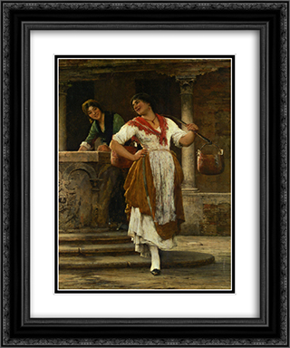 Meeting in the Square 20x24 Black or Gold Ornate Framed and Double Matted Art Print by Eugene de Blaas