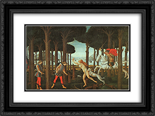 The Story of Nastagio degli Onesti (first episode) 24x18 Black or Gold Ornate Framed and Double Matted Art Print by Sandro Botticelli