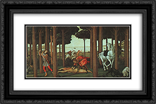 The Story of Nastagio degli Onesti (second episode) 24x16 Black or Gold Ornate Framed and Double Matted Art Print by Sandro Botticelli