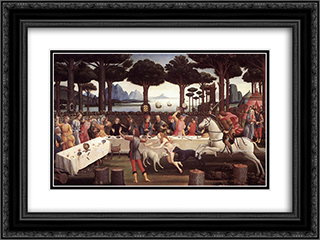The Story of Nastagio degli Onesti (third episode) 24x18 Black or Gold Ornate Framed and Double Matted Art Print by Sandro Botticelli
