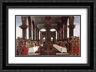 The Story of Nastagio degli Onesti (fourth episode) 24x18 Black or Gold Ornate Framed and Double Matted Art Print by Sandro Botticelli