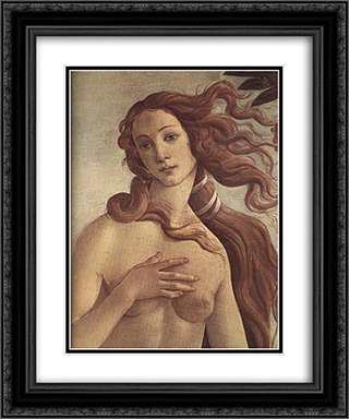 The birth of Venus [detail] 20x24 Black or Gold Ornate Framed and Double Matted Art Print by Sandro Botticelli