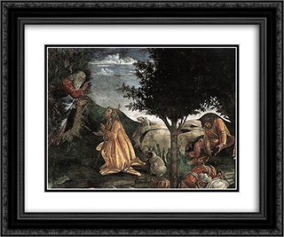 Scenes from the Life of Moses [detail: 2] 24x20 Black or Gold Ornate Framed and Double Matted Art Print by Sandro Botticelli