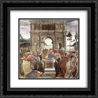 The Punishment of Korah [detail: 1] 20x20 Black or Gold Ornate Framed and Double Matted Art Print by Sandro Botticelli