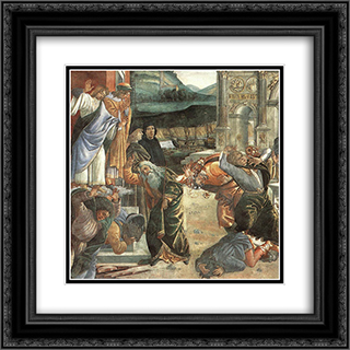 The Punishment of Korah [detail: 2] 20x20 Black or Gold Ornate Framed and Double Matted Art Print by Sandro Botticelli