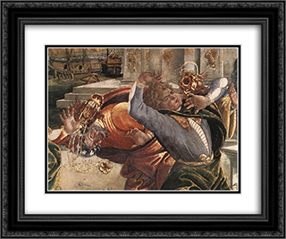 The Punishment of Korah [detail: 3] 24x20 Black or Gold Ornate Framed and Double Matted Art Print by Sandro Botticelli