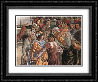 The Punishment of Korah [detail: 5] 24x20 Black or Gold Ornate Framed and Double Matted Art Print by Sandro Botticelli