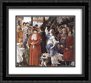 The Temptation of Christ [detail: 3] 22x20 Black or Gold Ornate Framed and Double Matted Art Print by Sandro Botticelli