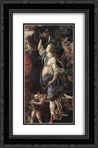 The Temptation of Christ [detail: 4] 16x24 Black or Gold Ornate Framed and Double Matted Art Print by Sandro Botticelli