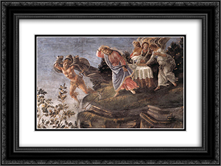 The Temptation of Christ [detail: 6] 24x18 Black or Gold Ornate Framed and Double Matted Art Print by Sandro Botticelli