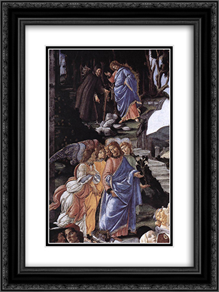 The Temptation of Christ [detail: 1] 18x24 Black or Gold Ornate Framed and Double Matted Art Print by Sandro Botticelli