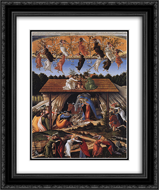 Mystic Nativity 20x24 Black or Gold Ornate Framed and Double Matted Art Print by Sandro Botticelli