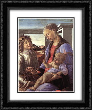 Madonna and Child with an Angel 20x24 Black or Gold Ornate Framed and Double Matted Art Print by Sandro Botticelli