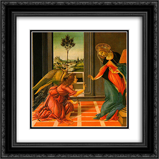 The Cestello Annunciation 20x20 Black or Gold Ornate Framed and Double Matted Art Print by Sandro Botticelli