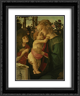 The Madonna and Child with the Infant Saint John the Baptist 20x24 Black or Gold Ornate Framed and Double Matted Art Print by Sandro Botticelli