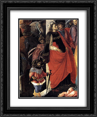 Adoration of the Magi (detail) 20x24 Black or Gold Ornate Framed and Double Matted Art Print by Sandro Botticelli