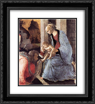 Adoration of the Magi (detail) 20x22 Black or Gold Ornate Framed and Double Matted Art Print by Sandro Botticelli