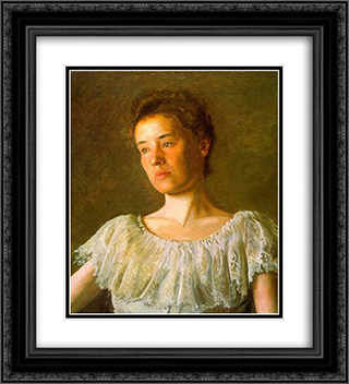 Portrait of Alice Kurtz 20x22 Black or Gold Ornate Framed and Double Matted Art Print by Thomas Eakins