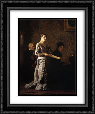 Singing a Pathetic Song 20x24 Black or Gold Ornate Framed and Double Matted Art Print by Thomas Eakins
