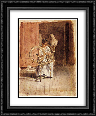 Spinning 20x24 Black or Gold Ornate Framed and Double Matted Art Print by Thomas Eakins