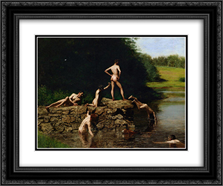 Swimming 24x20 Black or Gold Ornate Framed and Double Matted Art Print by Thomas Eakins