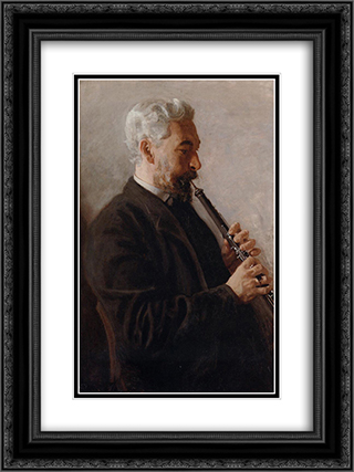 The Oboe Player 18x24 Black or Gold Ornate Framed and Double Matted Art Print by Thomas Eakins
