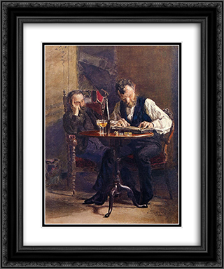 The Zither Player 20x24 Black or Gold Ornate Framed and Double Matted Art Print by Thomas Eakins