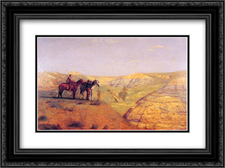 Cowboys in the Badlands 24x18 Black or Gold Ornate Framed and Double Matted Art Print by Thomas Eakins