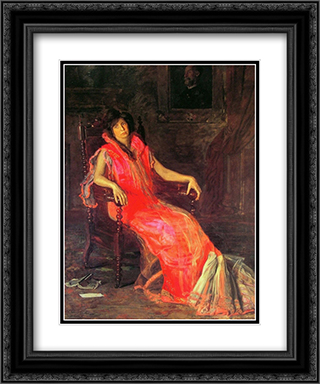 The Actress 20x24 Black or Gold Ornate Framed and Double Matted Art Print by Thomas Eakins